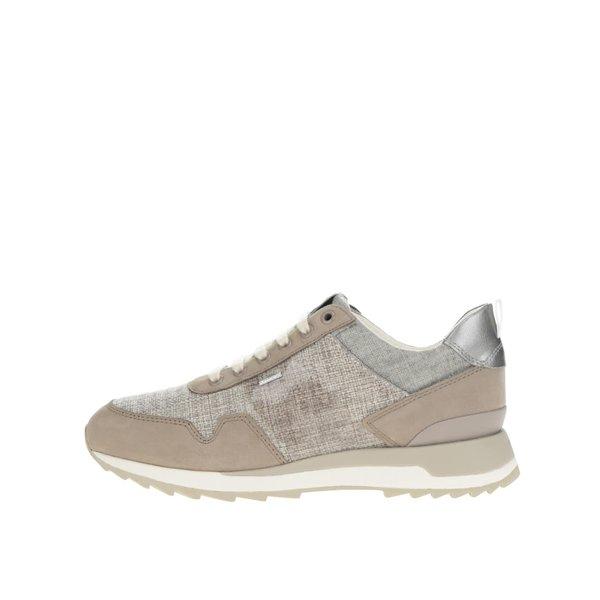Pantofi sport bej Geox Aneko cu detalii argintii de la Geox in categoria pantofi sport și teniși
