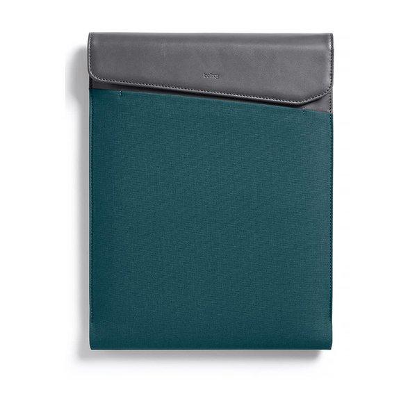 Husă verde & gri Bellroy Laptop Sleeve Extra 13 cu detalii din piele