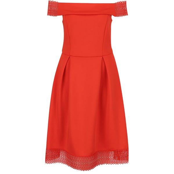 Rochie roșu corai Dorothy Perkins cu decolteu pe umeri de la Dorothy Perkins in categoria rochii de seară