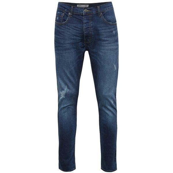Blugi albaștri skinny cu aspect uzat Burton Menswear London