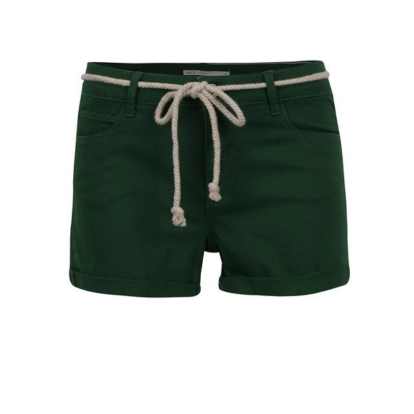 Pantaloni scurți verzi ONLY Claudia cu șnur decorativ de la ONLY in categoria Blugi, pantaloni, colanți