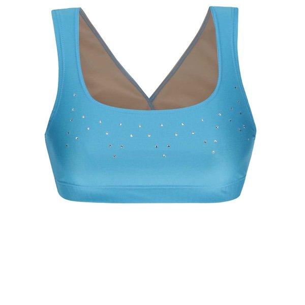 Bustier sport albastru Mania fitness wear Falling star cu ștrasuri aurii de la Mania fitness wear in categoria Lenjerie intimă, pijamale, costume de baie