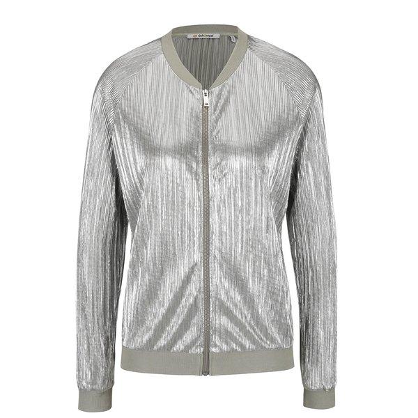 Jachetă argintie bomber Rich & Royal din material plisat