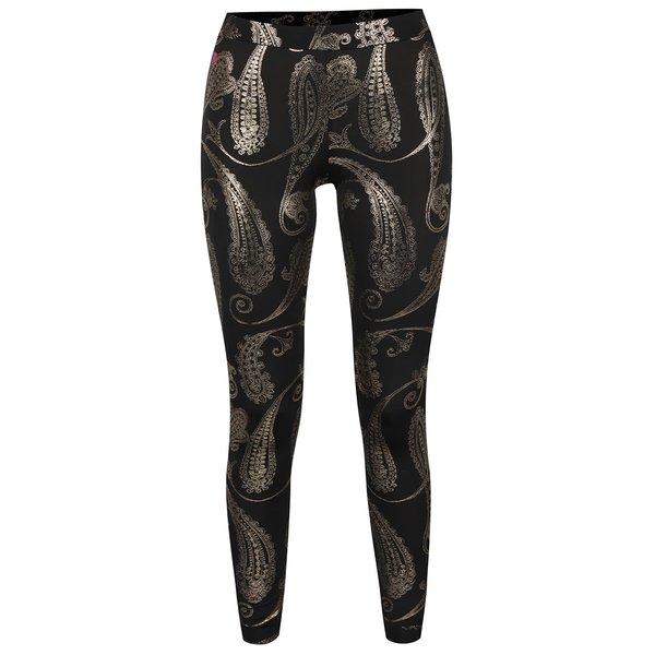 Colanți negri Mania fitness wear Oriental cu model paisley auriu de la Mania fitness wear in categoria Blugi, pantaloni, colanți