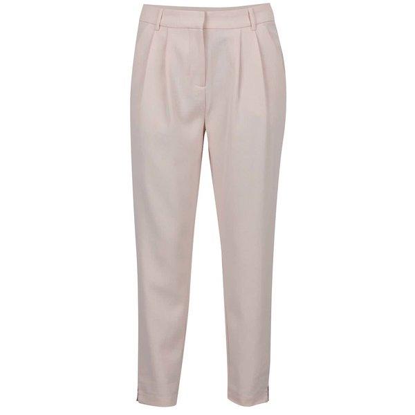 Pantaloni roz pal cu pense decorative VILA Fera