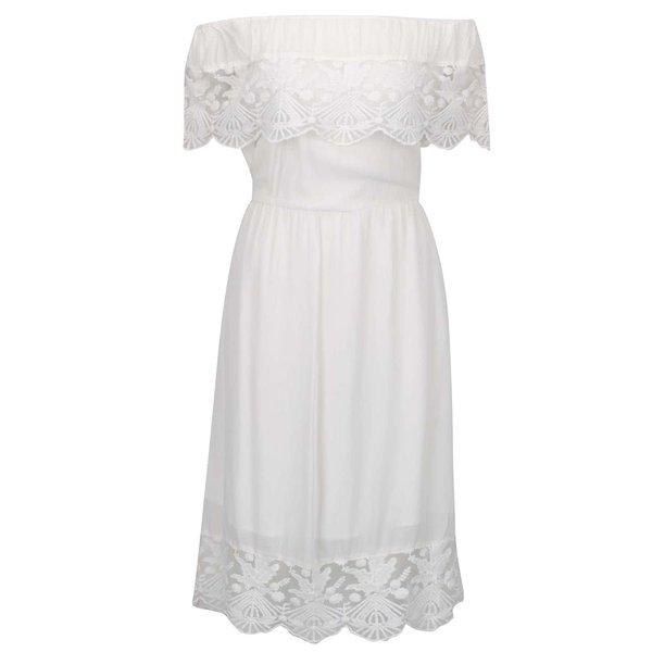 Rochie crem VILA Sui cu detalii din dantelă și umerii goi de la VILA in categoria rochii de seară