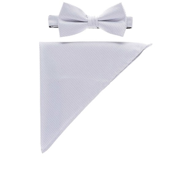 Set alb & gri cu papion și batistă Selected Homme Neal cu model în dungi de la Selected Homme in categoria Accesorii