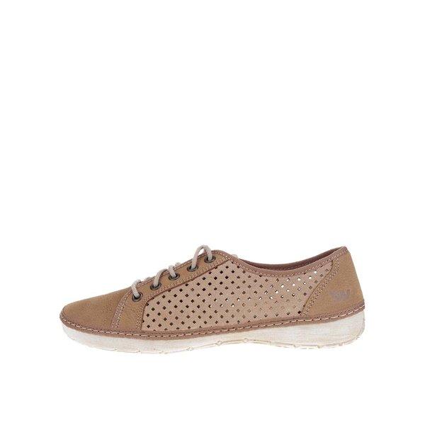 Pantofi casual maro deschis de damă Weinbrenner din piele cu perforații de la Weinbrenner in categoria pantofi sport și teniși