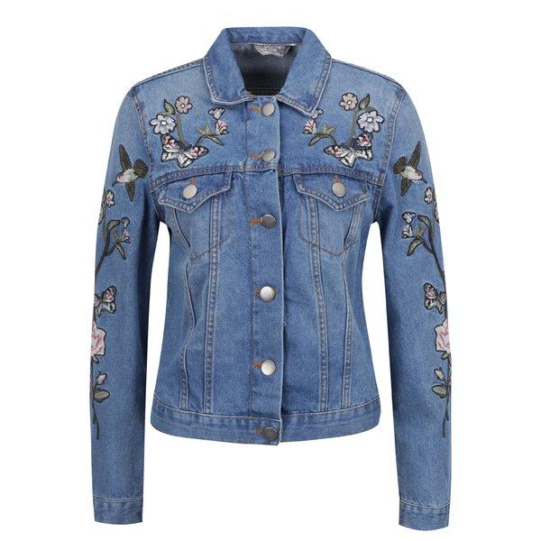Jachetă albastră Dorothy Perkins din denim cu aplicații de la Dorothy Perkins in categoria Geci, jachete și sacouri