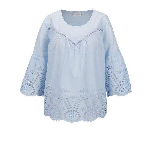 Bluză albastru deschis VILA Simma cu mâneci trei sferturi Butterfly