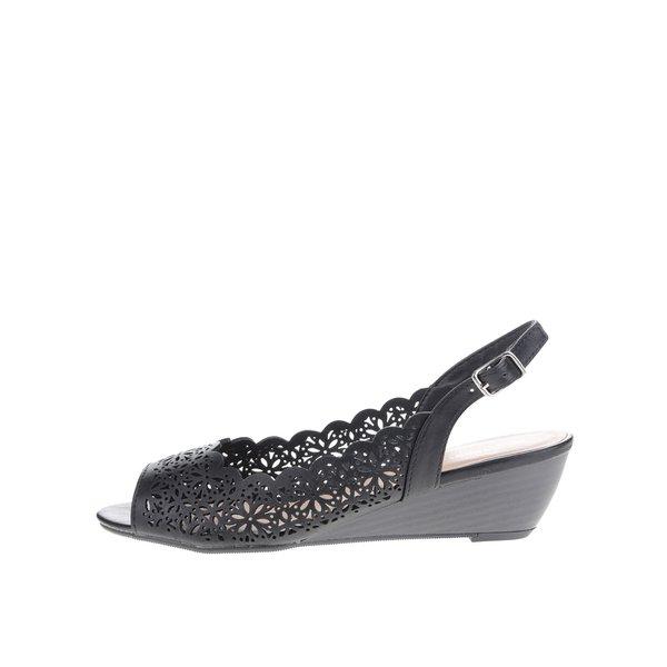 Sandale negre Dorothy Perkins cu model cu perforații