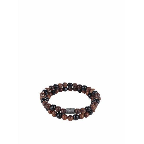 Set de 2 brățări negru & maro Lucleon
