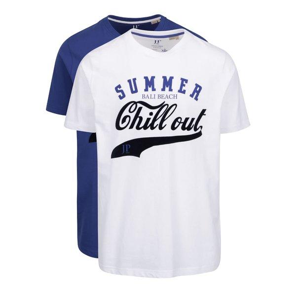 Set de 2 tricouri alb & albastru JP 1880 din bumbac cu print de la JP 1880 in categoria tricouri