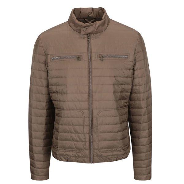Geacă matlasată impermeabilă bej Geox cu guler înalt de la Geox in categoria Geci, paltoane, jachete