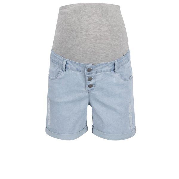 Pantaloni scurți albastru deschis din denim Mama.licious Scratch cu aplicație elastică de la Mama.licious in categoria Blugi, pantaloni, colanți