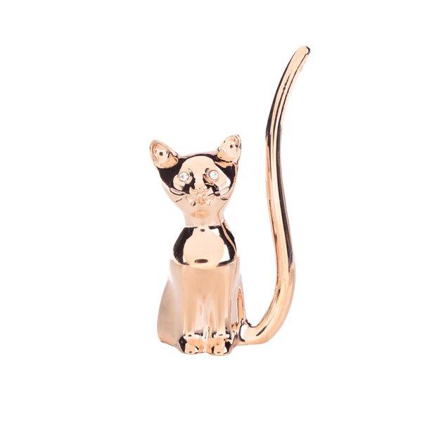Suport pentru inele auriu CGB în formă de pisică