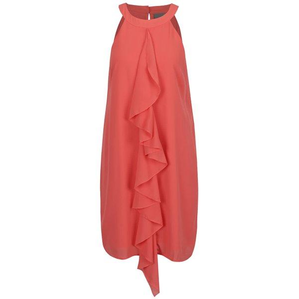 Rochie roz VEROO MODA Bea cu volan decorativ de la VERO MODA in categoria rochii casual