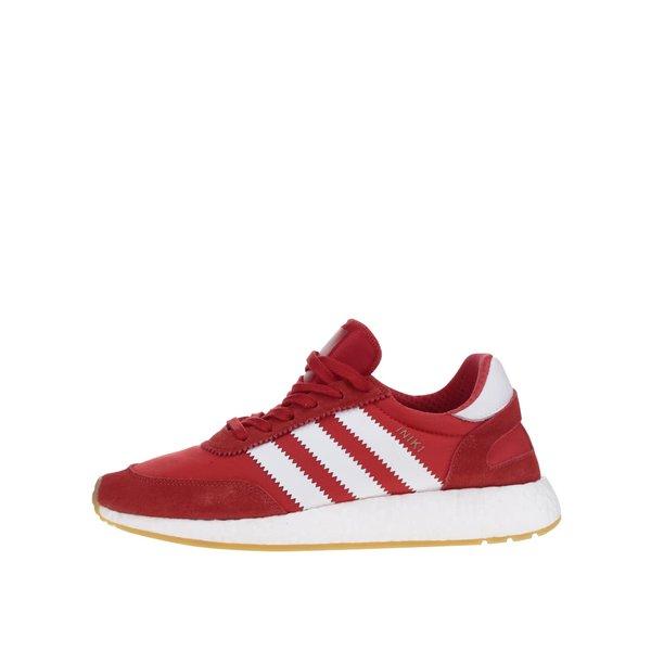 Pantofi sport roșii adidas Originals Iniki Runner cu detalii din piele întoarsă