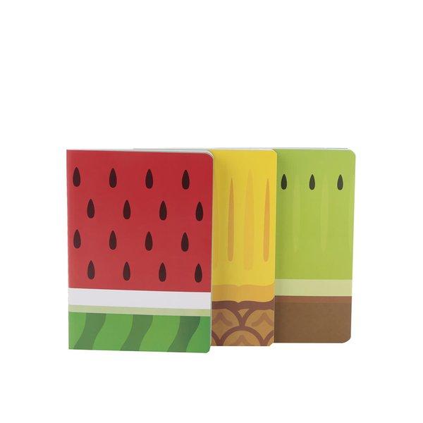 Set de 3 carnețele Mustard cu imprimeu fructe