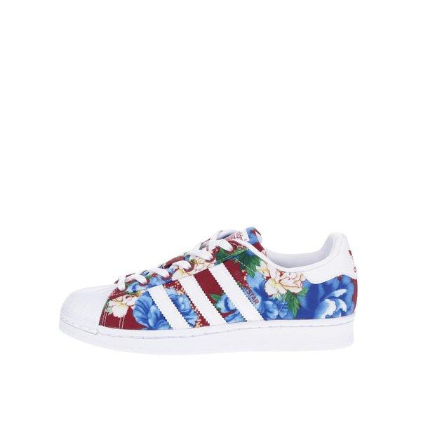 Pantofi sport alb & roșu adidas Originals Superstar cu model floral