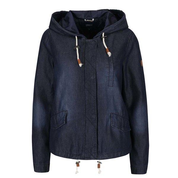 Jacheta din denim bleumarin cu gluga ONLY Skylar