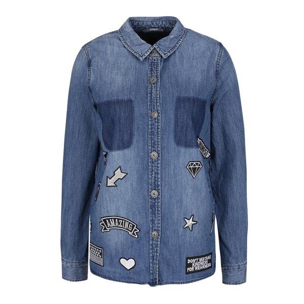 Jacheta din denim albastra cu aplicatii ONLY Bech