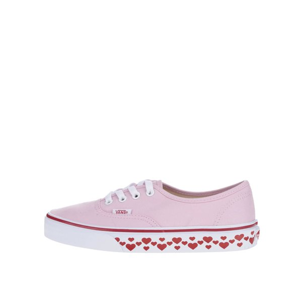 Teniși roz pal Vans Authentic cu imprimeu inimi