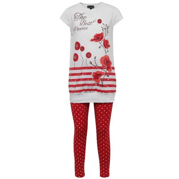 Pijama alb & roșu Mix´n Match pentru fete