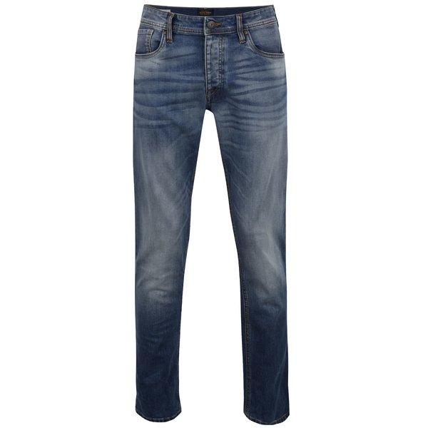 Pantaloni albaștri Jack & Jones Mike Original cu aspect prespălat