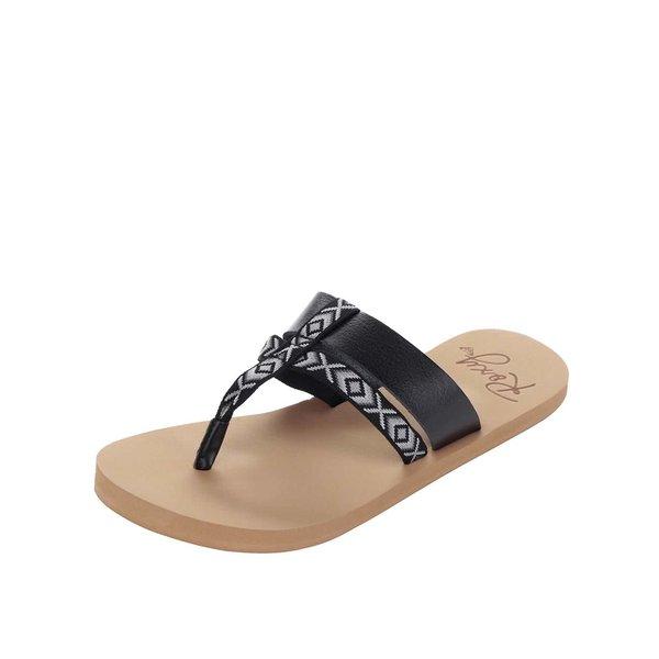 Papuci flip-flop negri Roxy Kahula cu model aztec de la Roxy in categoria șlapin