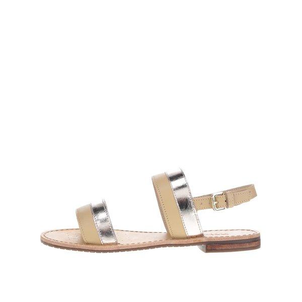 Sandale bej & auriu Geox Sozy din piele de la Geox in categoria sandale