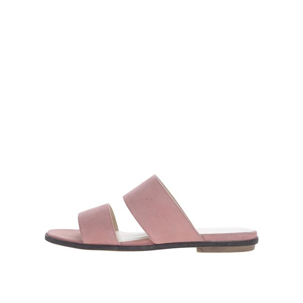 Papuci slide roz Vagabond Natalia din piele întoarsă