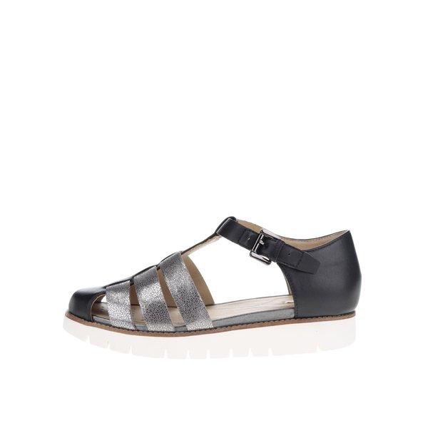 Sandale negre cu barete argintii Geox Darline de la Geox in categoria sandale
