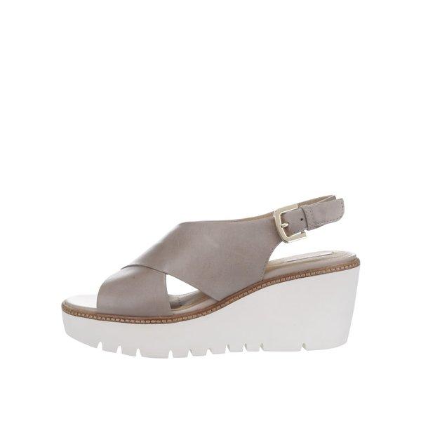 Sandale bej cu platformă Geox Domezia din piele de la Geox in categoria sandale