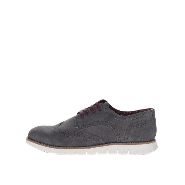 Pantofi Brogue gri închis London Brogues Gatz Derby din piele întoarsă