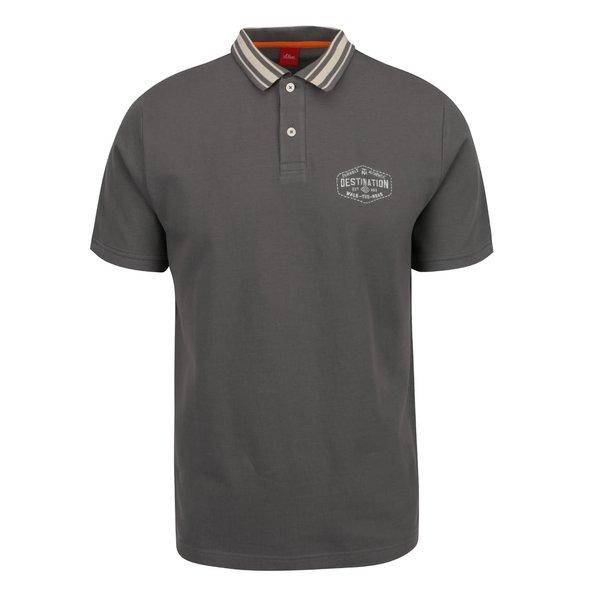 Tricou polo gri s.Oliver din bumbac cu print de la s.Oliver in categoria tricouri