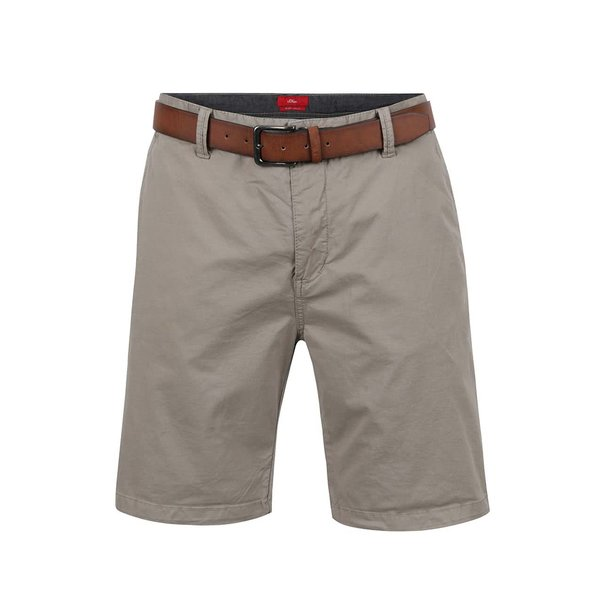 Pantaloni scurți gri s.Oliver cu curea maro
