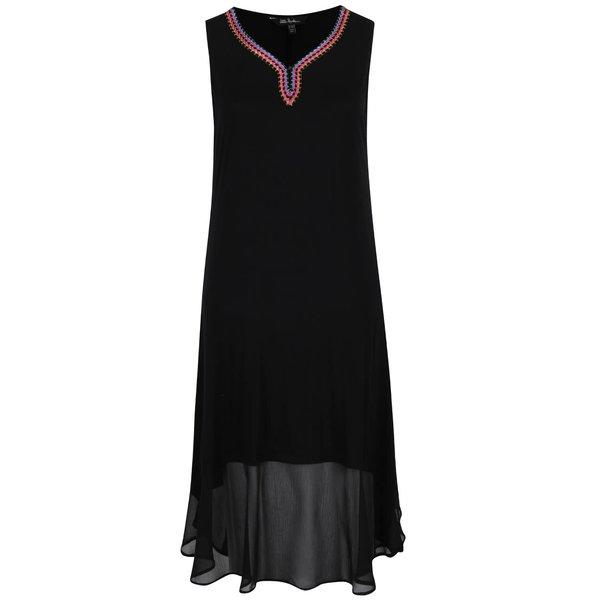 Rochie neagră lungă Ulla Popken cu broderie colorată