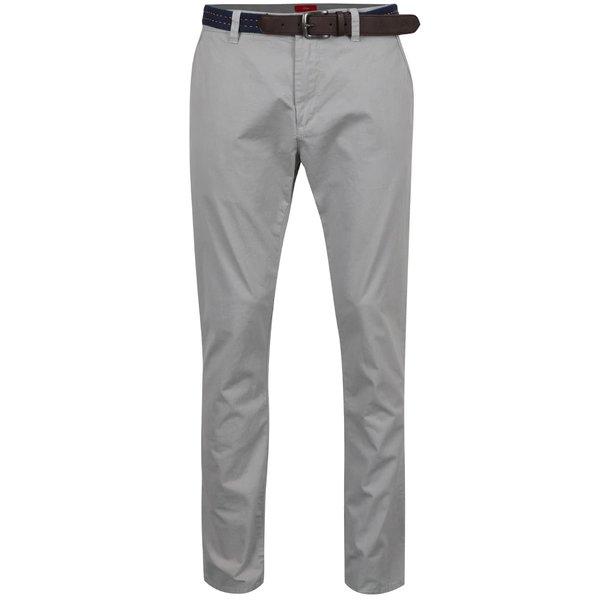 Pantaloni gri s.Oliver cu curea neagră