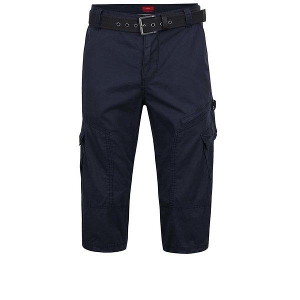 Pantaloni cargo albastru închis s.Oliver din bumbac cu curea neagră
