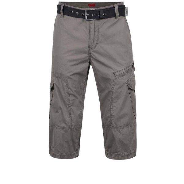 Pantaloni cargo gri deschis s.Oliver din bumbac cu curea neagră de la s.Oliver in categoria Blugi, pantaloni, pantaloni scurți