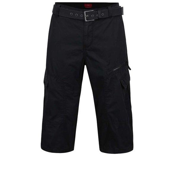 Pantaloni cargo negri s.Oliver din bumbac cu curea neagră