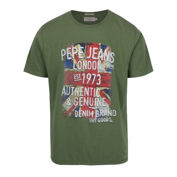 Tricou verde camuflaj Pepe Jeans Jujube cu print
