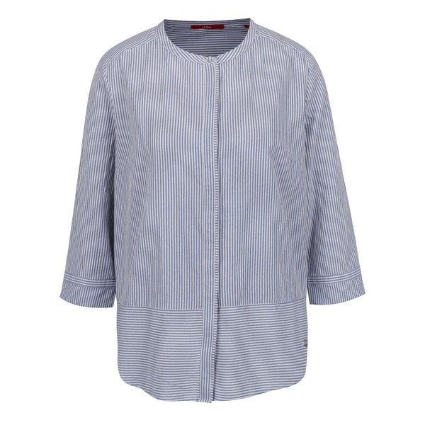 Bluză albastră s.Oliver din bumbac cu model în dungi și guler tunică
