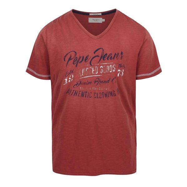 Tricou roșu Pepe Jeans Governor din bumbac