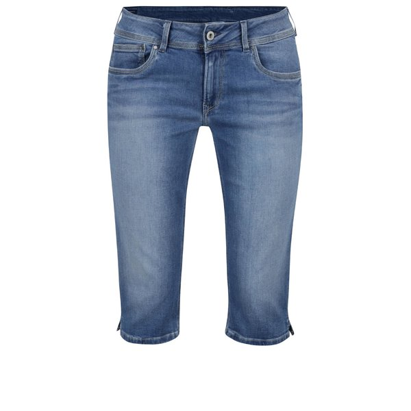 Pantaloni 3/4 albaștri Pepe Jeans Saturn din denim