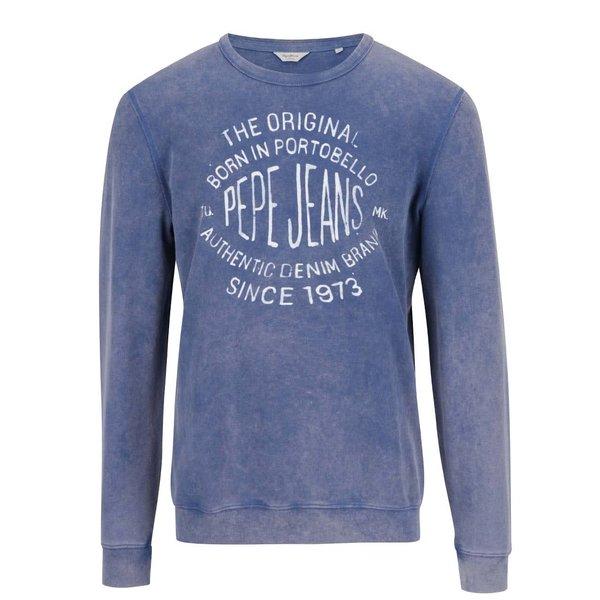 Bluză albastră Pepe Jeans Depel cu print cu text