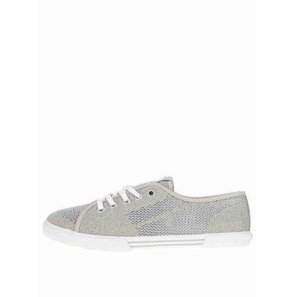 Pantofi sport auriu&argintiu Pepe Jeans Aberlady Fishnet cu model