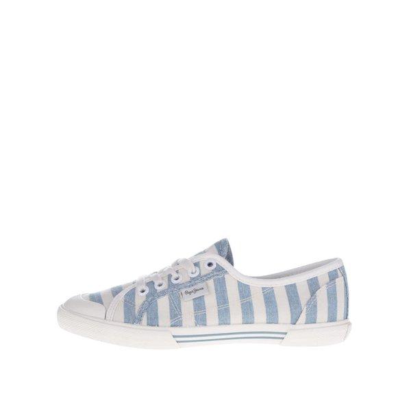 Pantofi sport crem&albastru Pepe Jeans Abernew cu model în dungi