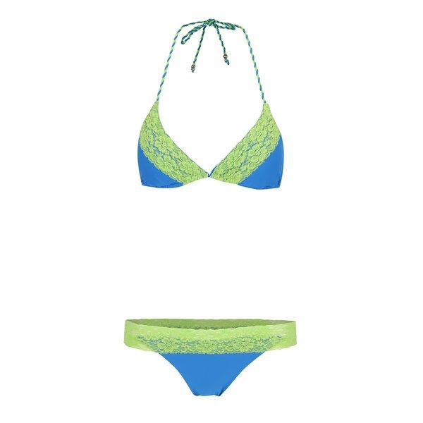 Costum de baie albastru Relleciga cu aplicații din dantelă verde de la Relleciga in categoria Lenjerie intimă, pijamale, costume de baie